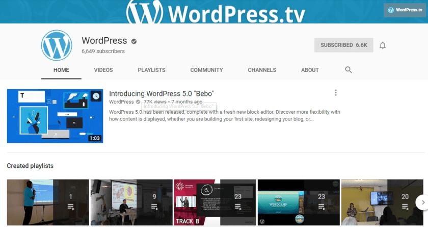WordPress.tv YouTube Channel