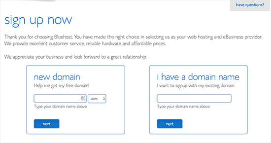 Select Domain Name Bluehost