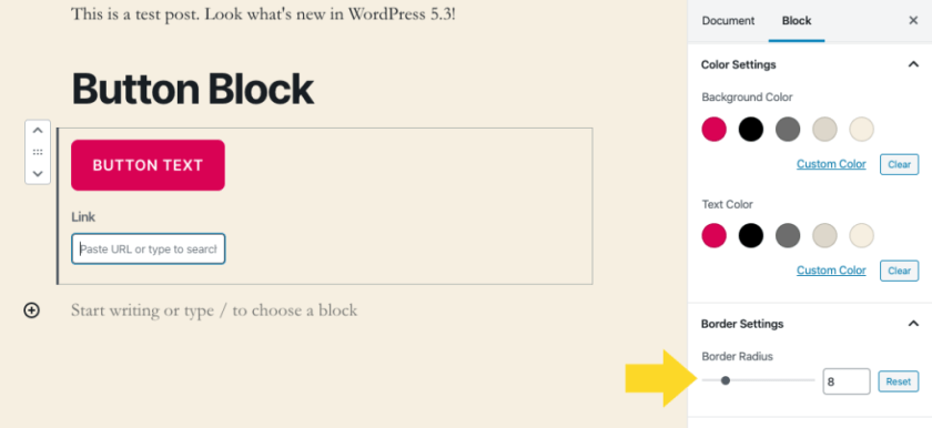 WordPress Button Block Border Radius Update