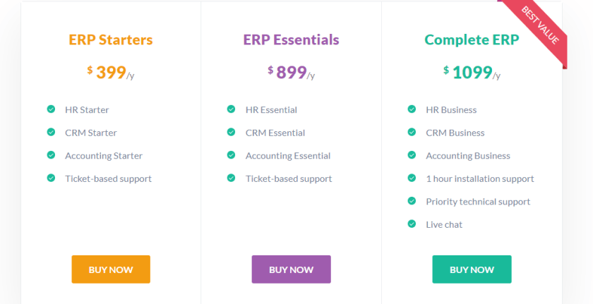 WP ERP Pricing plan