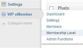 screenshot showing how to create new membership levels with wp eMember plugin