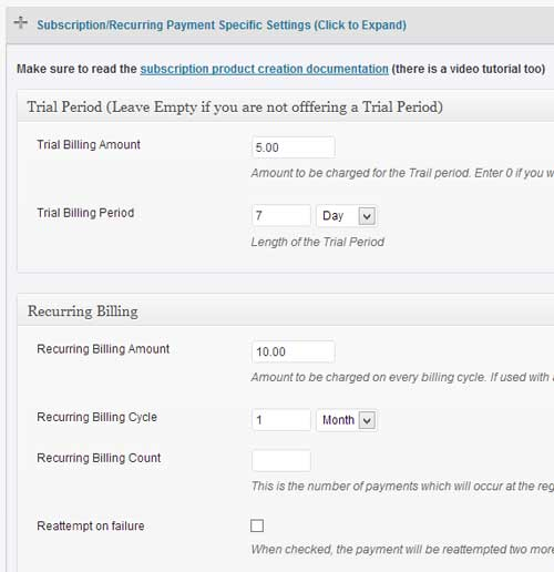 screenshot showing how to configure price for wordpress paypal subscription