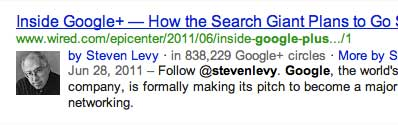screenshot showing an example of google+ author display in the search result