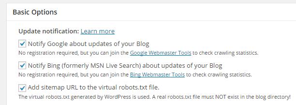 screenshot showing the update notification section of  xml sitemap plugin
