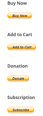screenshot showing buttons created using WordPress PayPal plugin