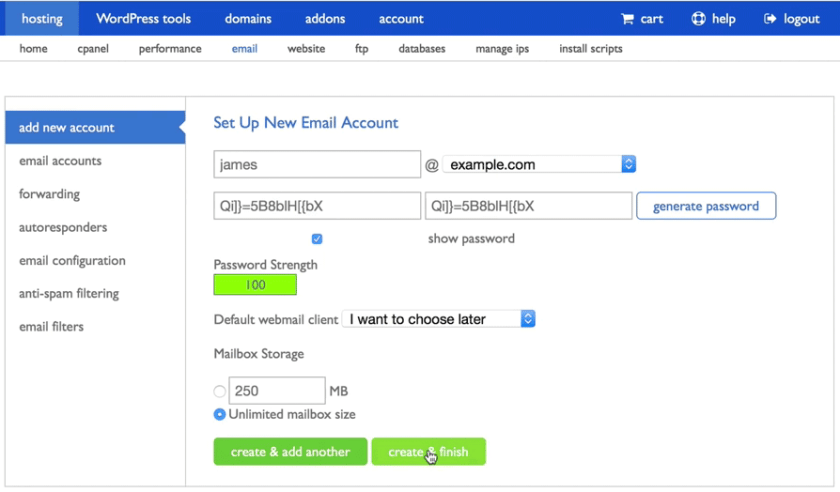 screenshot showing how to set up an email account on bluehost