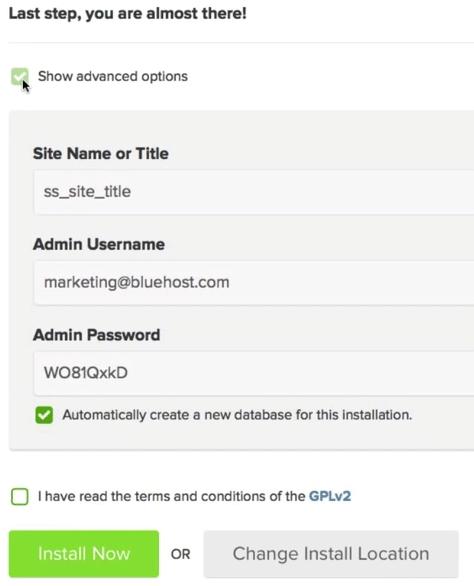 screenshot of advanced options in the WordPress install menu