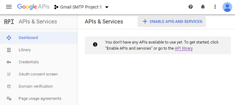 screenshot showing how to enable an API on a project in Google Developers Console