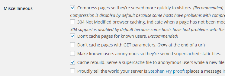 screenshot showing the miscellaneous section of super cache plugin