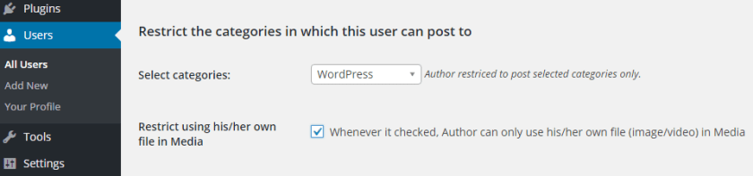 screenshot showing how an author can be restricted to a particular category or media in WordPress