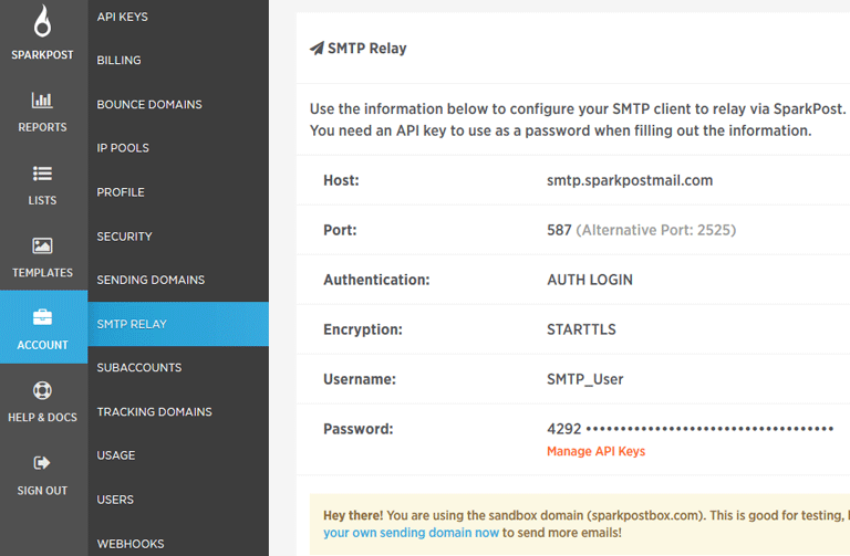 screenshot showing SMTP relay specif information in SparkPost dashboard