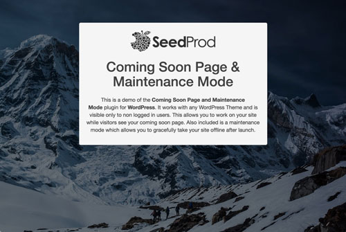 screenshot of a maintenance mode page created by the WordPress coming soon plugin