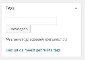 WordPress tag toevoegen