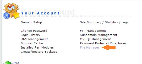 Locatie File Manager in DirectAdmin