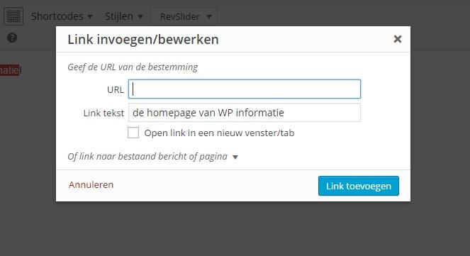 Link toevoegen in WordPress - stap 2