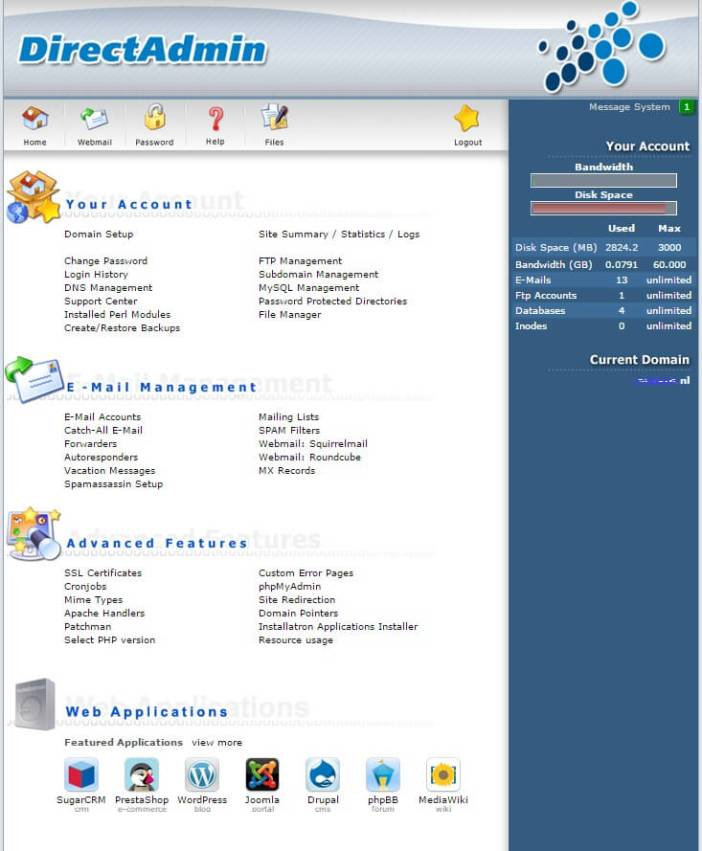 cPanel preview