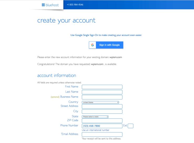 Account Details for Bluehost WordPress Hosting Optimised