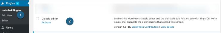 Activate Classic Editor Installed Plugin
