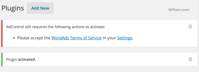 Adcontrol WordAds Plugin Information