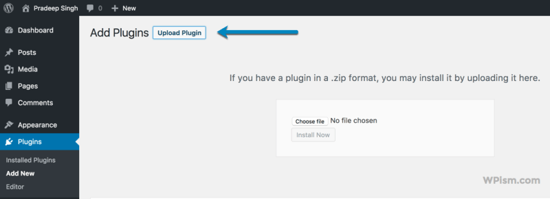Add Plugin Upload New Envato Market Plugin