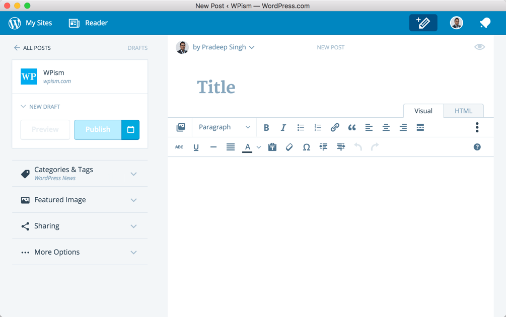 Adding New Post from WordPress Application