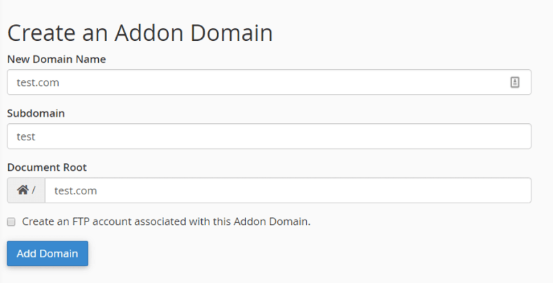Addon domains add new cpanel option