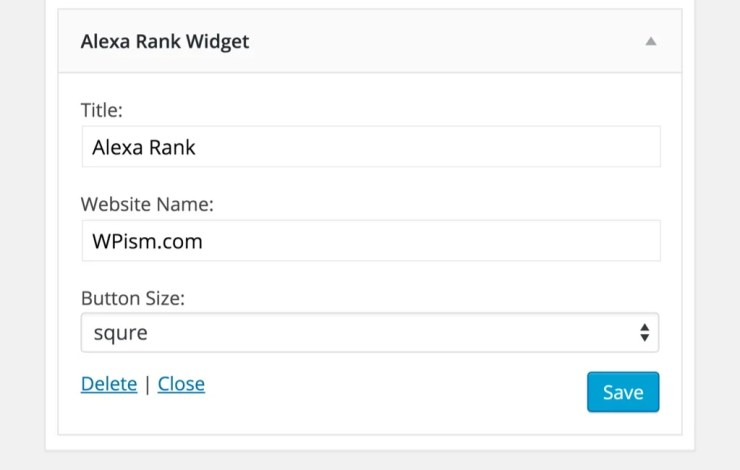 Alexa Rank Widget WordPress Plugin Settings