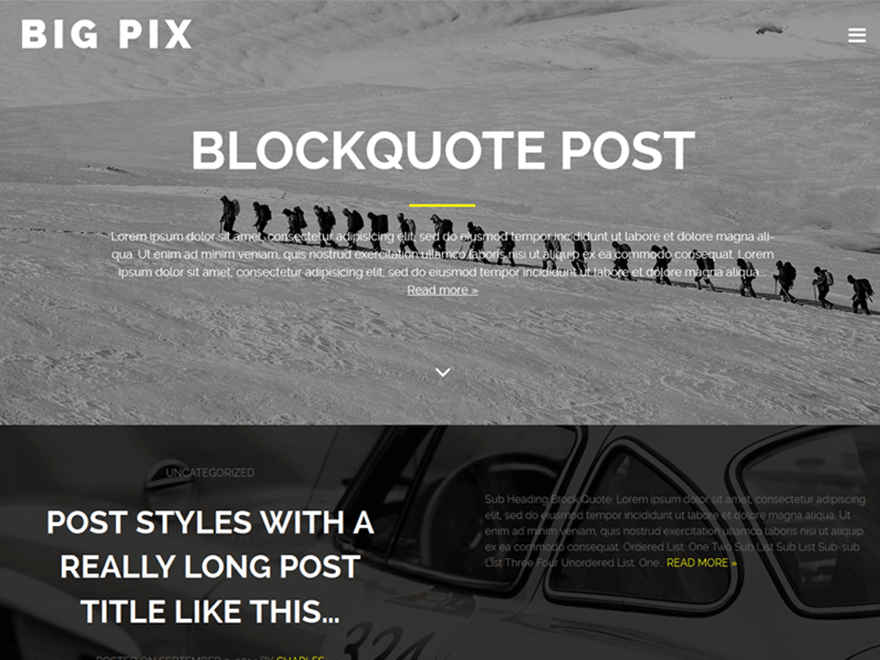 Big Pix WordPress Theme Medium Inspired