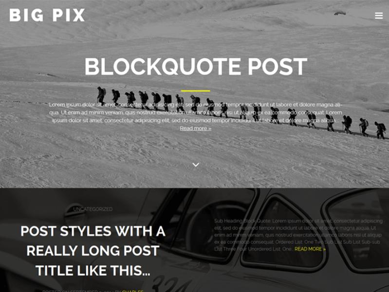 Big Pix WordPress Theme Medium Inspired