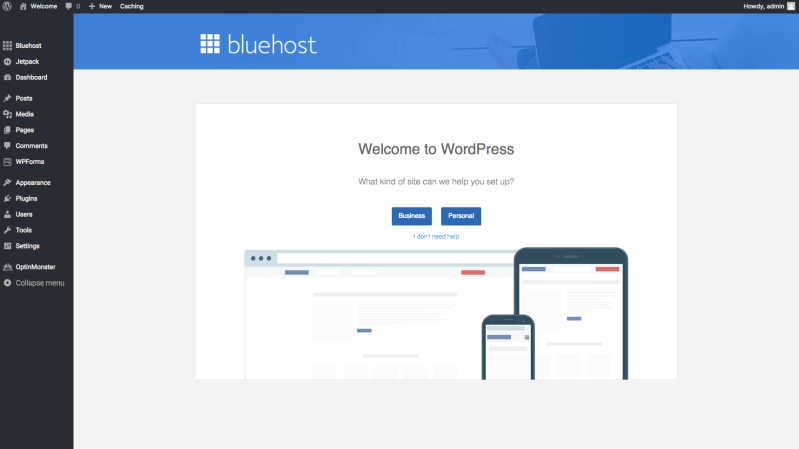 Bluehost welcome to WordPress new blog