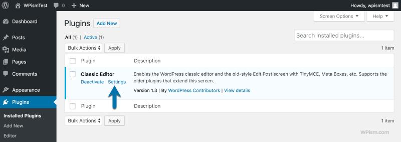 Classic Editor Plugin Settings Plugin Listings