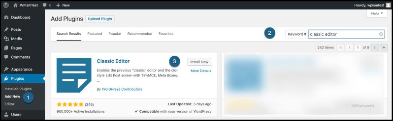 Classic WordPress Editor Plugin WordPress Install Section
