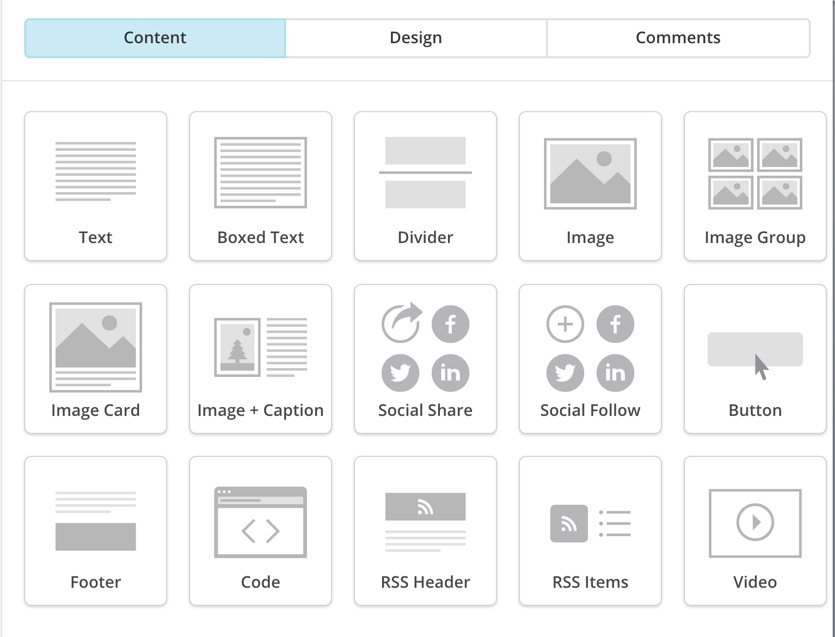 Content Design and Comments MailChimp RSS template