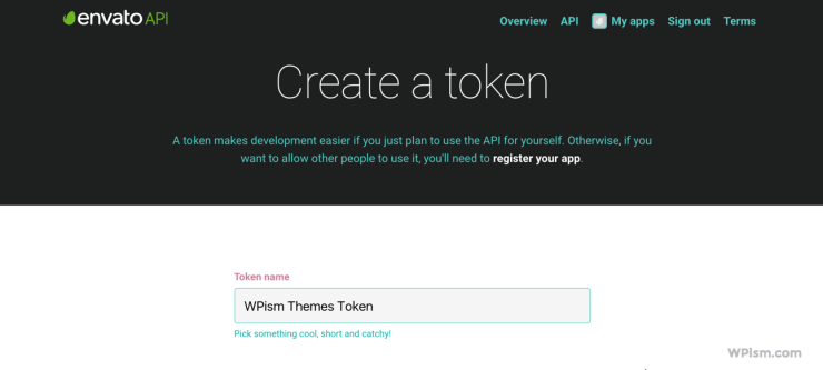 Create Envato WordPress API token