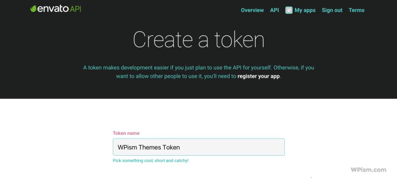 Create Envato WordPress API token