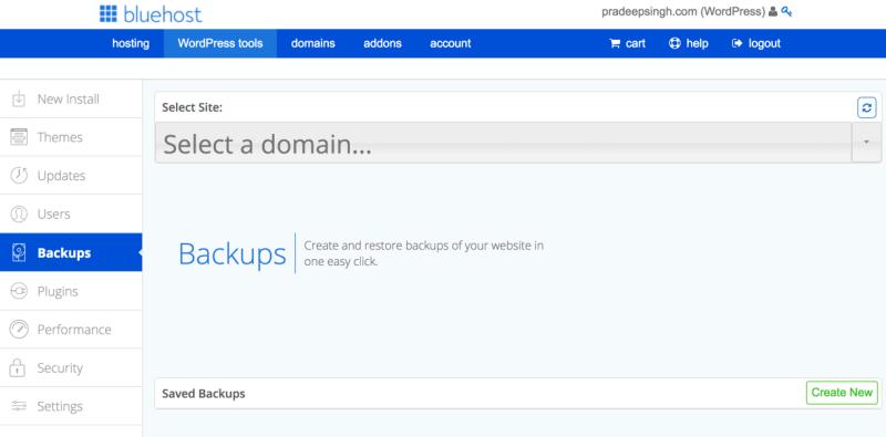 Create and Restore WordPress Backups Bluehost WordPress Tool