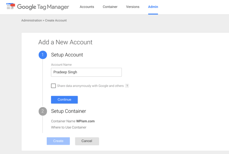 Creating New Account and Container Google Tag Manager