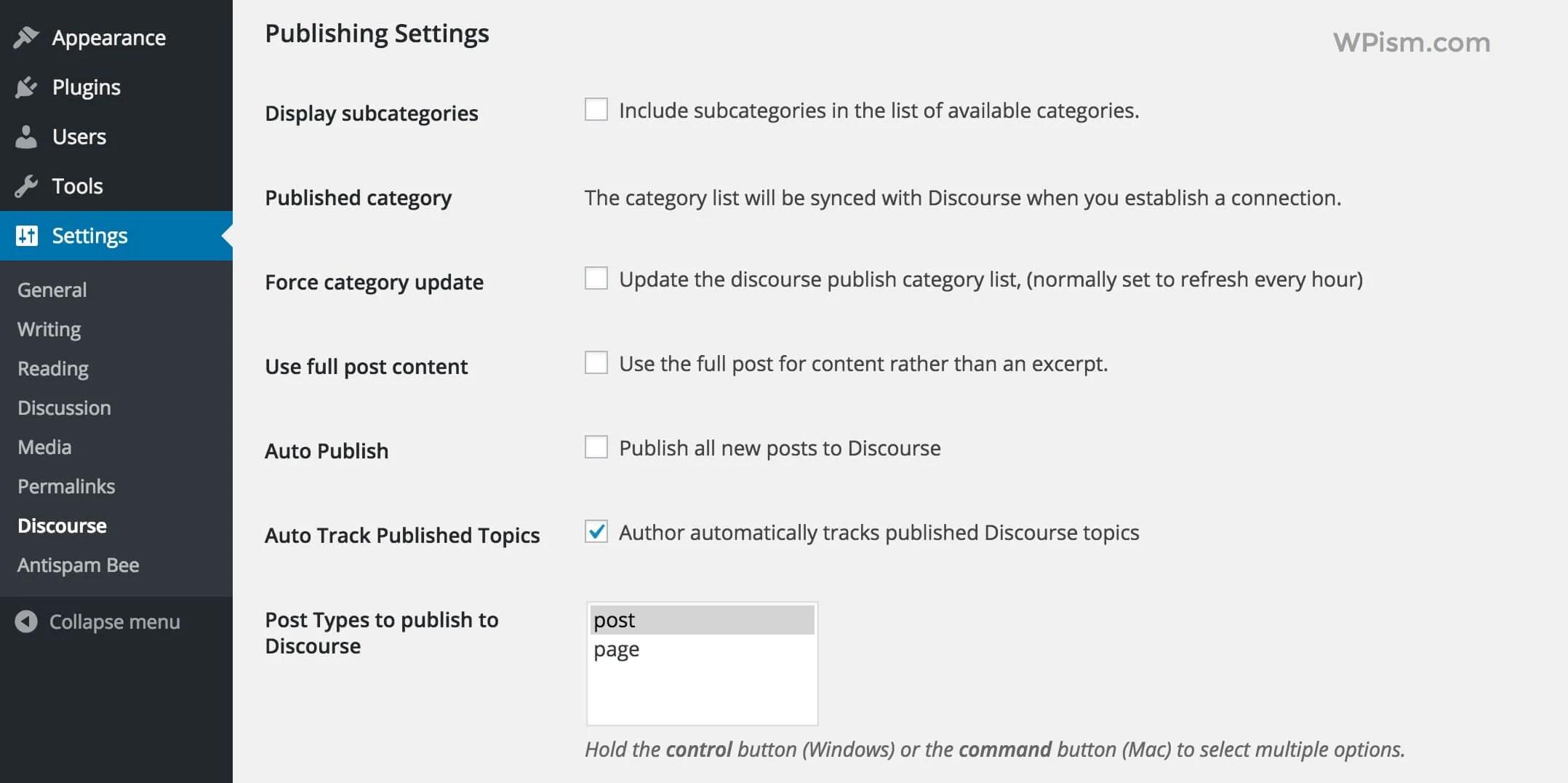 Discourse Publishing Settings WordPress Plugin
