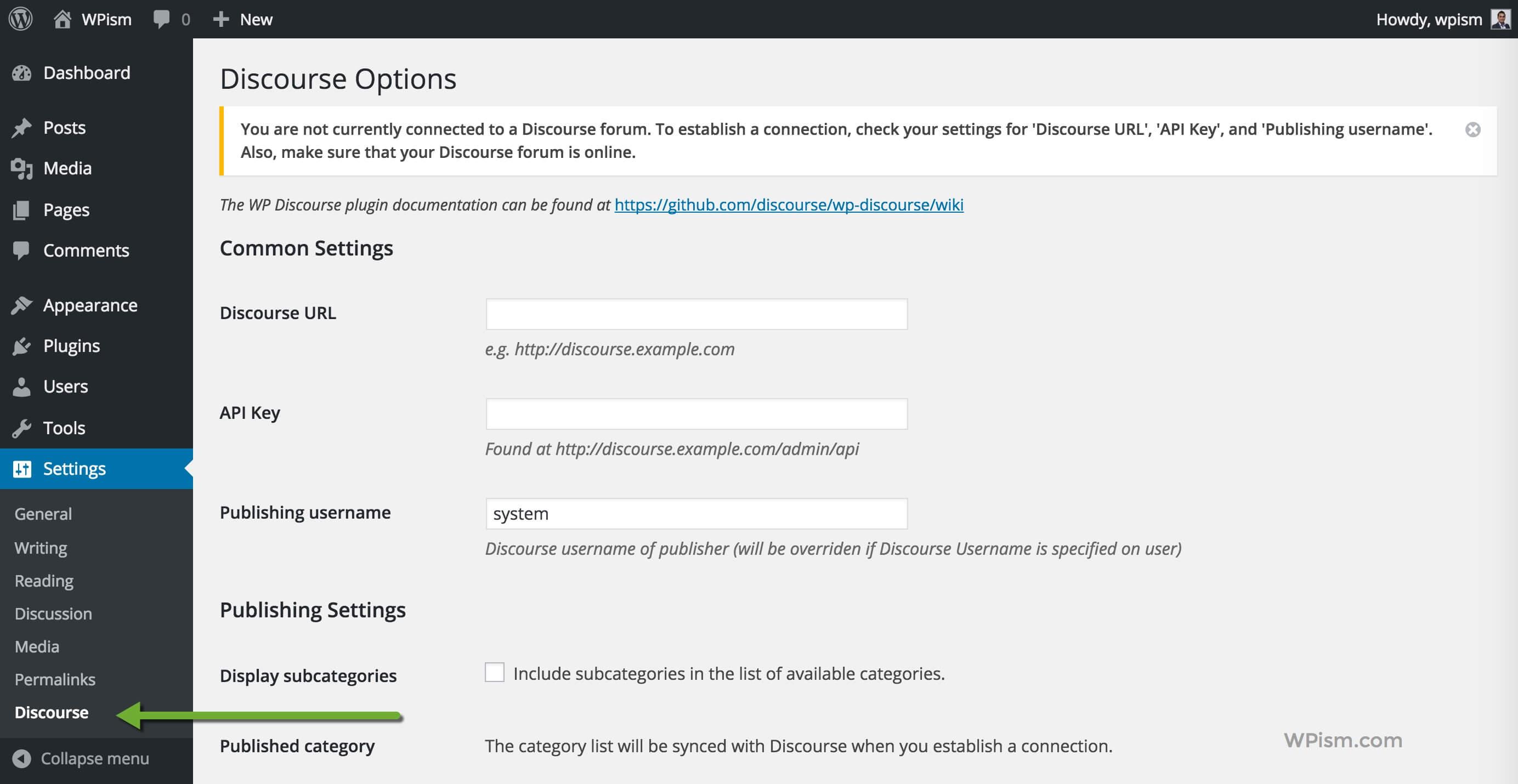 Discourse WordPress Plugin settings