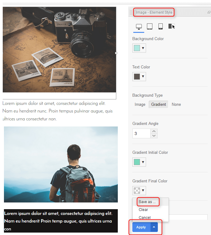 Edit Element Style MotoPress page Builder