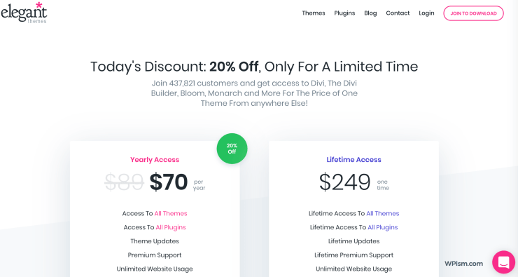 Elegant Themes Coupon discount pricing
