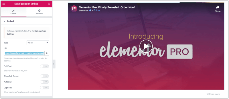 Elementor Plugin Facebook Live Videos Embed Feature