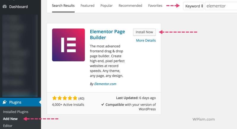 Elementor WordPress Plugin Install