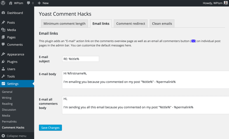Email Links Yoast Comment Hacks Plugin