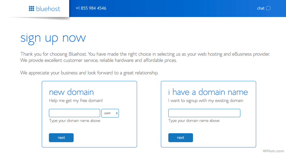 Enter Domain Name Details for Blog BlueHost