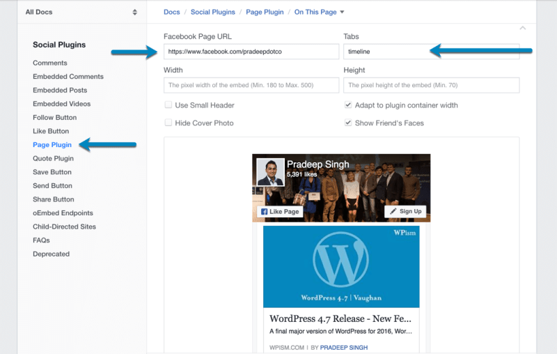 Facebook Page Widget Plugin Configuration