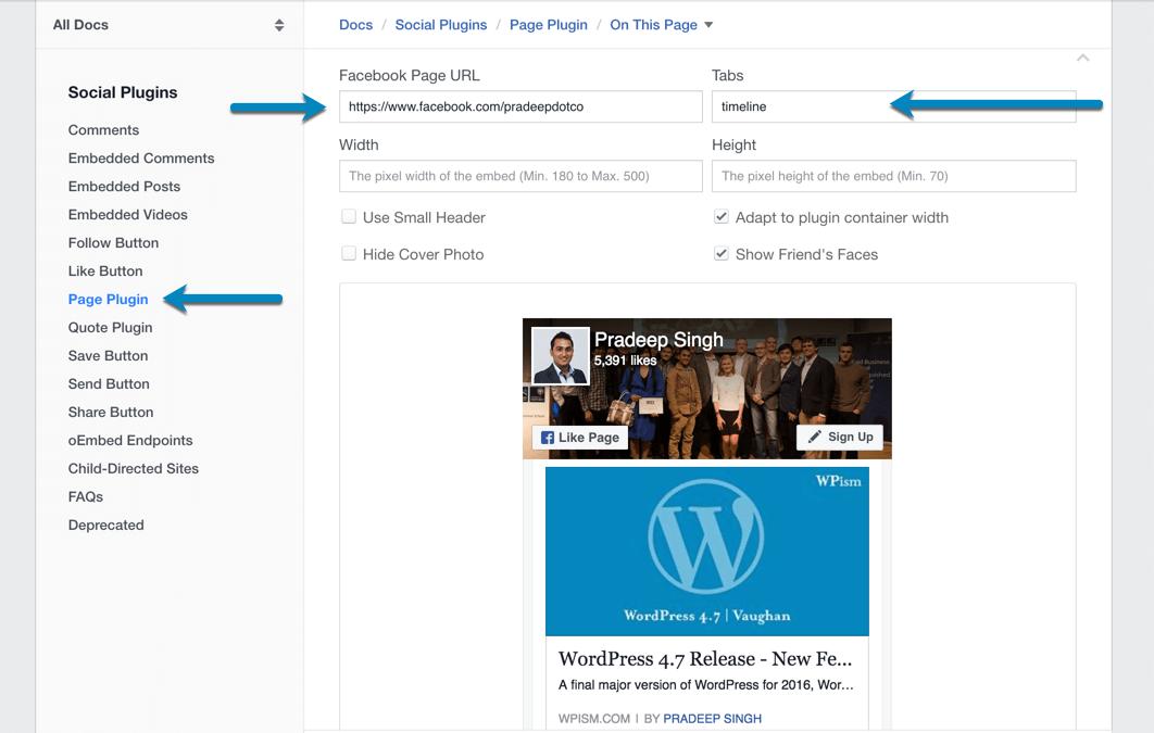 Facebook Page Widget Plugin Configuration
