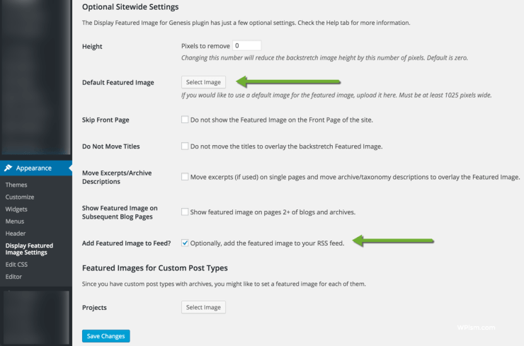 Featured Image Genesis Plugin Settings