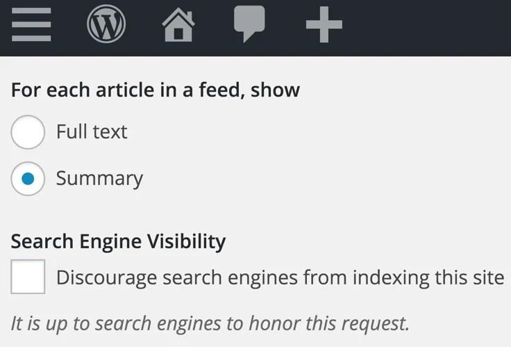 Feed Settings Summary WordPress