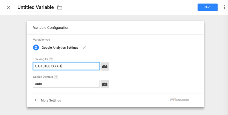 Google Analytics Settings Tracking ID Variable Tag Manager
